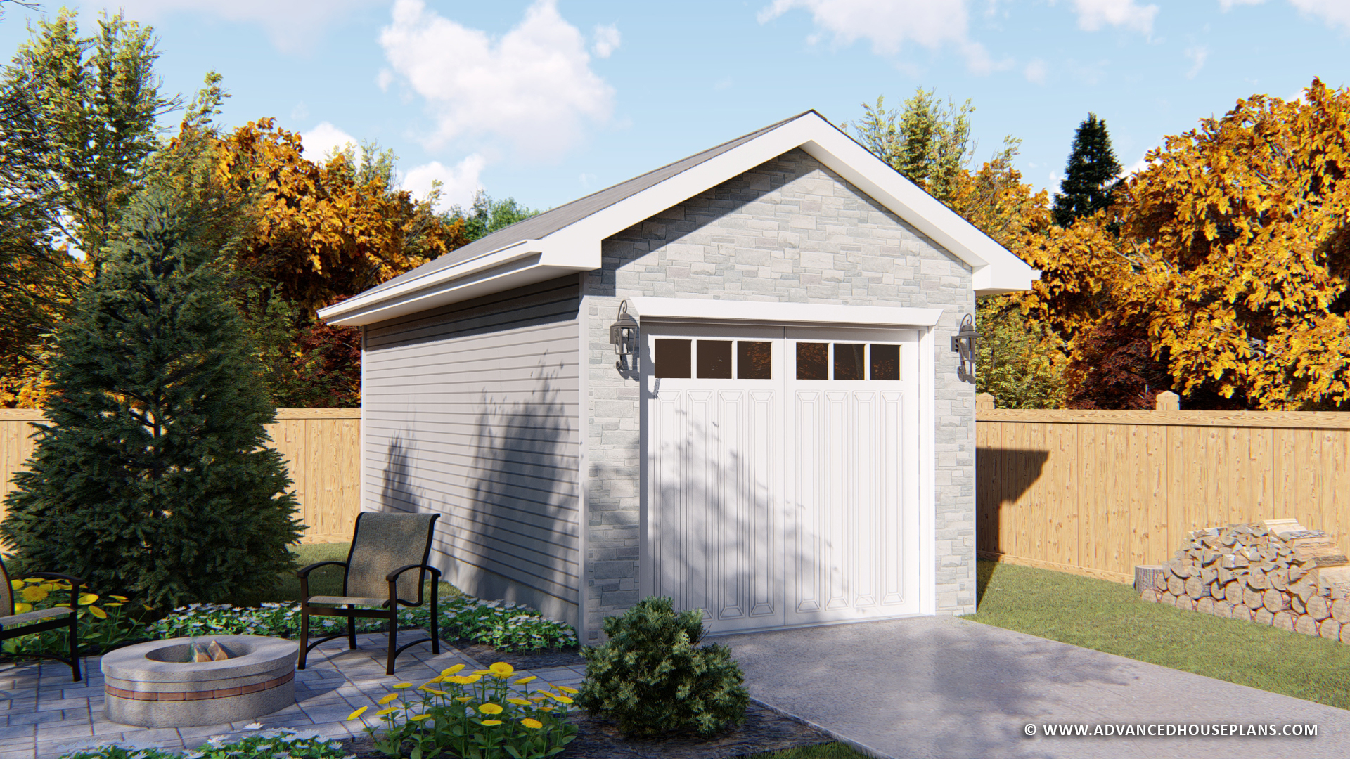 1 Car Detached Garage Plan | Blaine