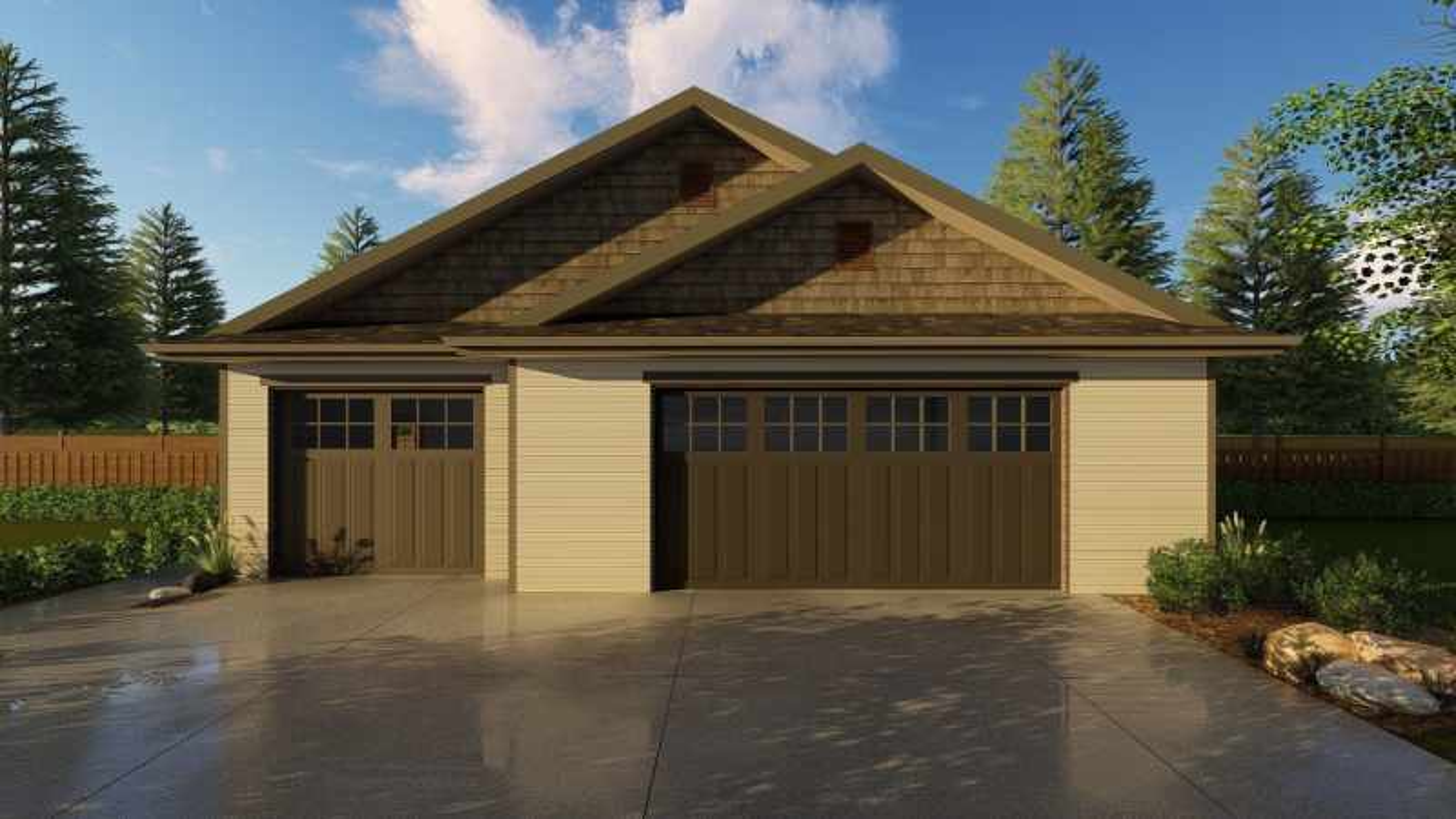 3 Car Craftsman Garage Plan Hammond, Hammond Garage Doors