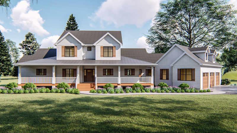 1 5 Story Modern Farmhouse Plan, Modern Farmhouse Plans With Wrap Around Porches