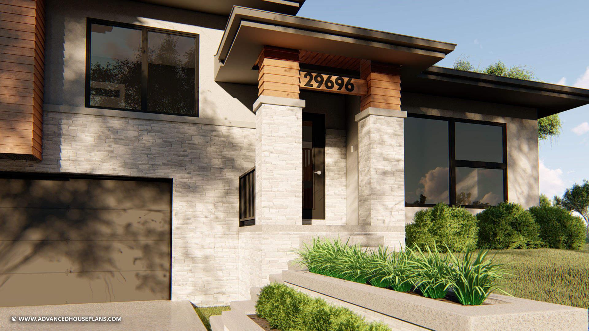 Split Level Modern Prairie Style House Plan | Graycliff