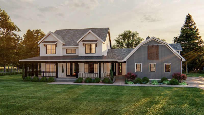 2 Story Modern Farmhouse Plan Houston, Modern Farmhouse Plans With Wrap Around Porches