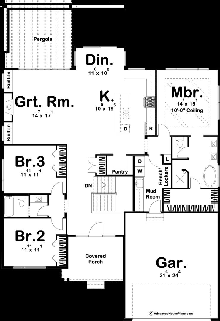 1 Story Modern House Plan Atlanta Heights