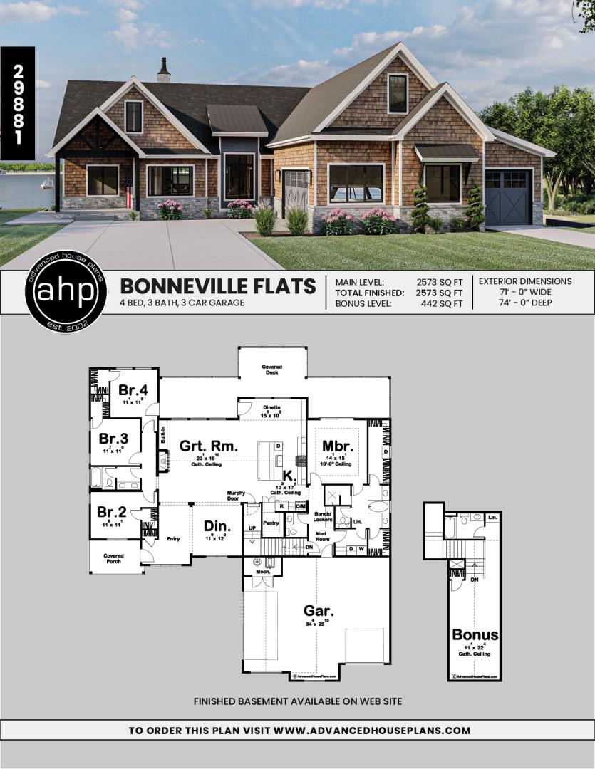 1 Story Lake House Plan Bonneville Flats
