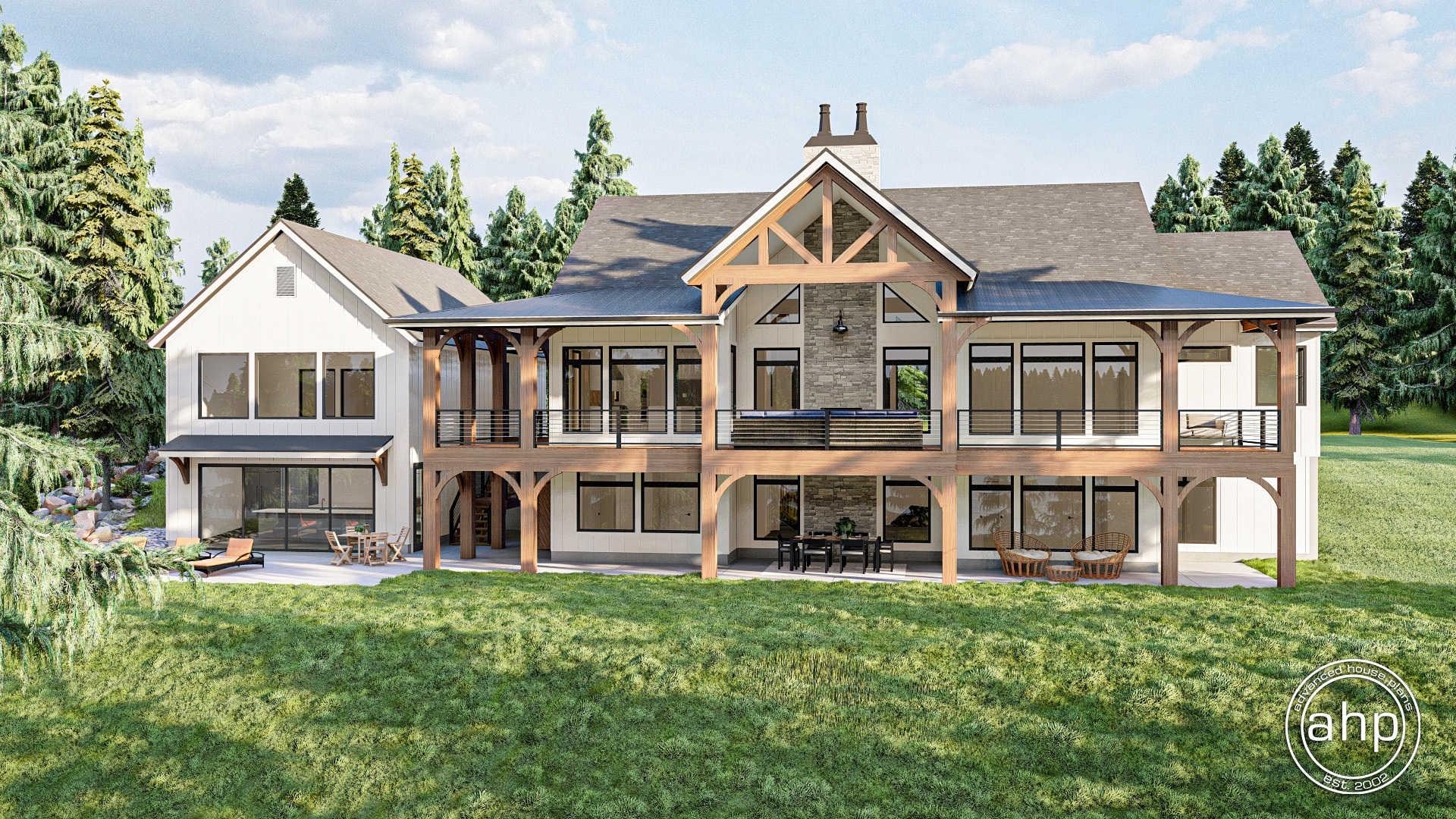 20 Story Modern Farmhouse Lake House Plan   Valley View